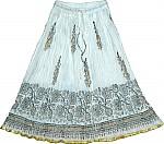 White Golden Block Print Short Skirt