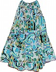 Turquoise Printed Hippie Long Skirt