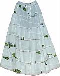 White Cotton Long Skirt