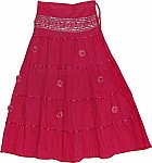 Maroon Flush Sequin Long Skirt