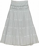 White Sequin Long Skirt