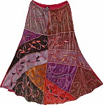 Embroidered Winter Skirt in Velvet
