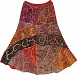 Red Winter Skirt in Velvet