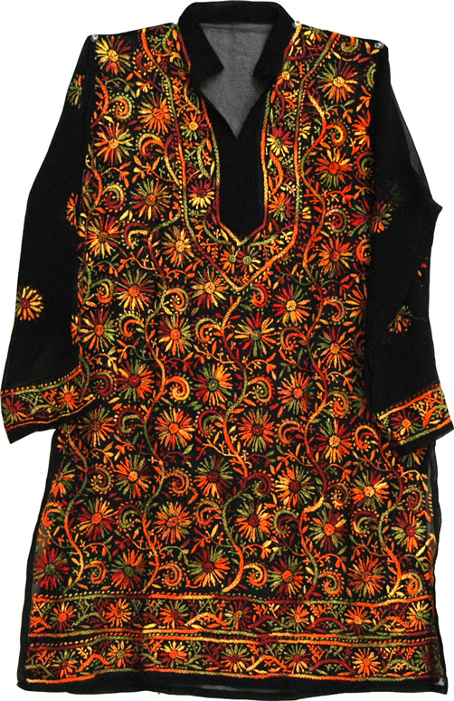 Tunic shirt for women with hand embroidery, Embroidered Tunic Top Fall Shirt