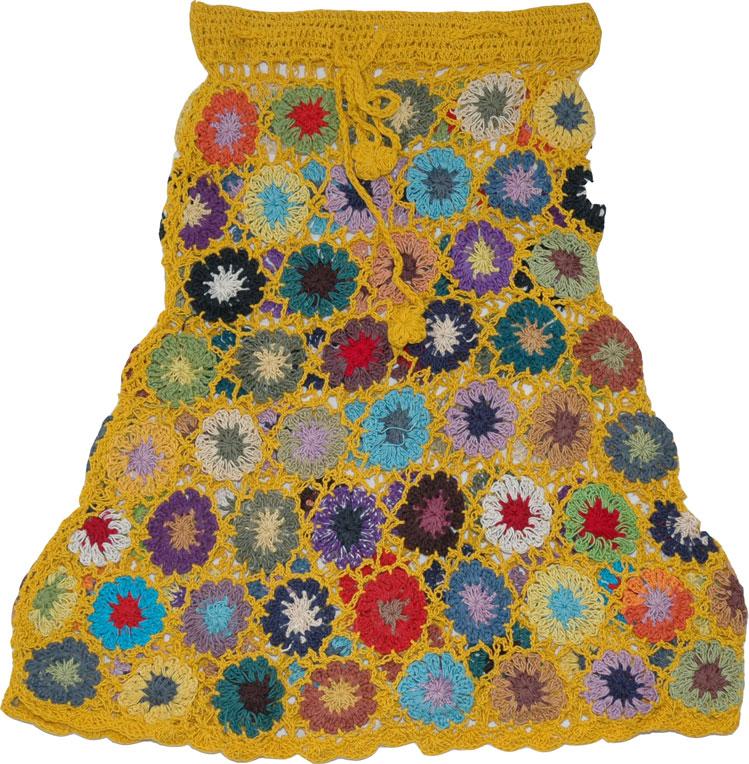 Boho Chic City Style Skirt, Supernova Crochet Beach Skirt