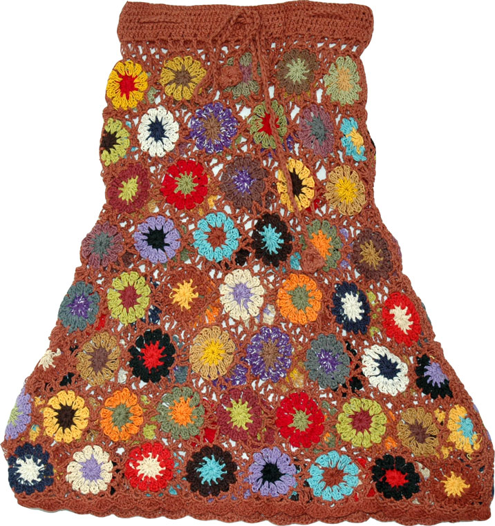 Boho Chic City Style Skirt, Short Crochet Swimsuit Skirt