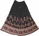 Black Skirt with Block Print
