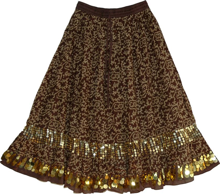Long Cotton Tribal Skirt, Irish Coffee Long Skirt