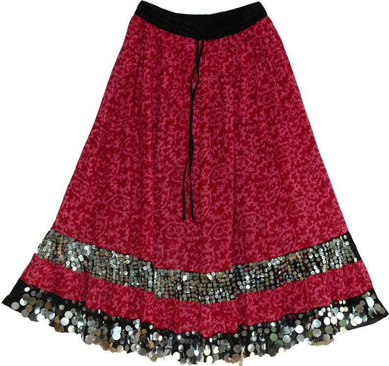 Long Cotton Tribal Skirt, Monarch Sequined Long Skirt
