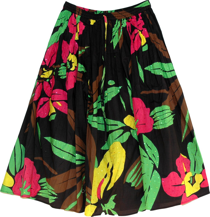 Printed Cotton Skirt with Sequins, Black Floral Sequin Modest Skirt