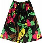 Black Floral Cotton Dance Skirt