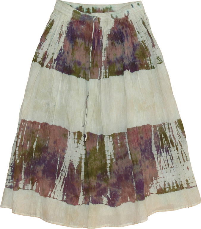 Off-white tie dye cotton skirt, Womens Long Skirts in Cotton