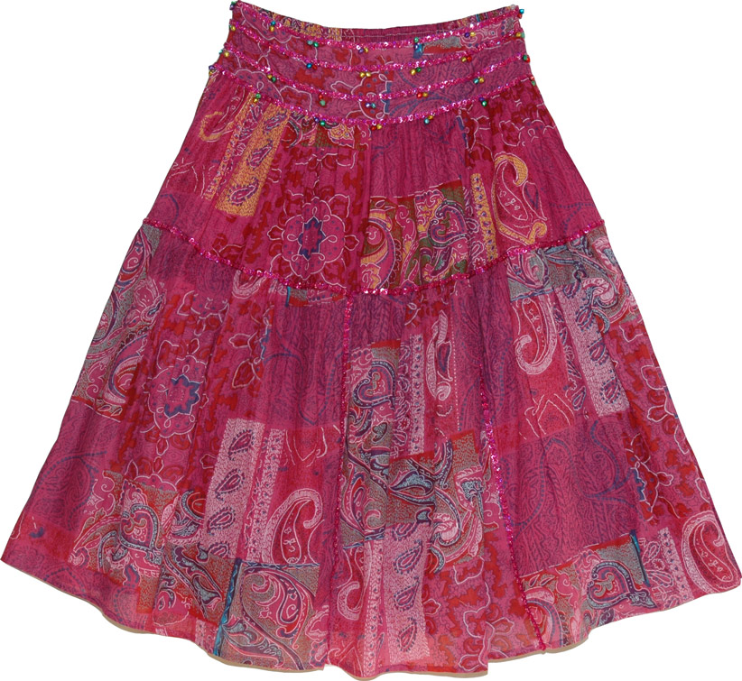 Dark pink cotton skirt with dark pink sequins, Stiletto Paisley Sequin Long Skirt