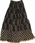 Black Long Skirt in Cotton Crinkle