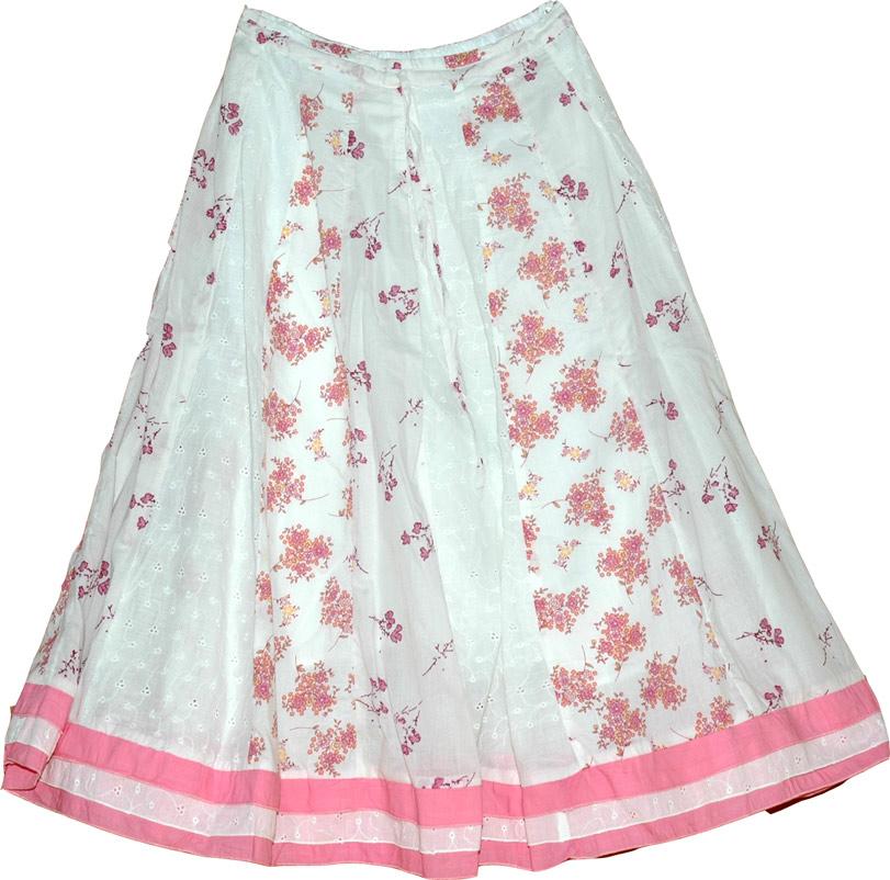 Pink White Eyelet Summer Skirt, Mauvelous Summer Cotton Skirt