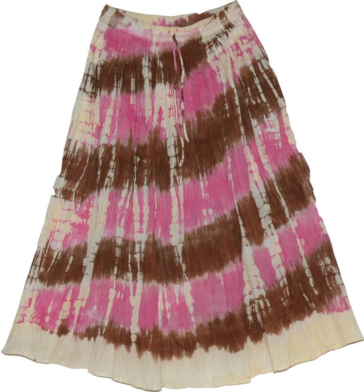 Off-white tie dye cotton skirt, Tie Dye Long Skirt