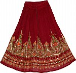 Maroon Oak Sequin Skirt