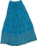 Turquoise Long Skirt in Cotton Crinkle