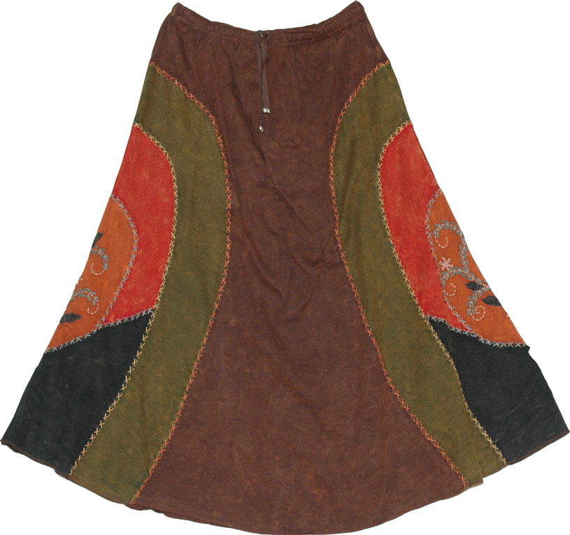 Spice Mix Winter Skirt  :  tie die gypsy plaid skirt long skirt