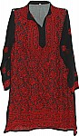 Black Red Ladies Tunic Shirt