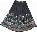 Boho Black Skirt with Block Print