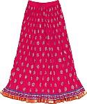 Long Crinkled Cotton Skirt