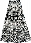 Black White Long Wrap Skirt