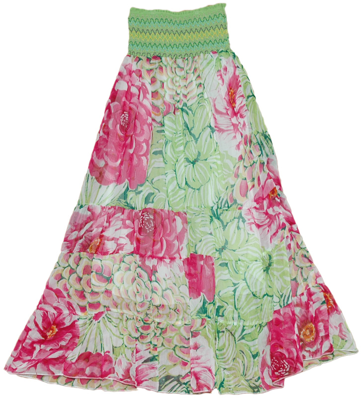 Waist band red green colorful long skirt, Smocking Chiffon Floral Long Dress Skirt