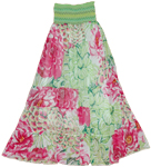 Smocking chiffon floral long skirt