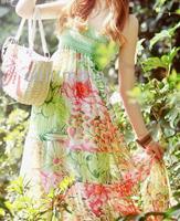 Smocking chiffon floral long skirt