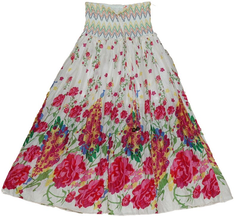 Colorful Maxi Dress Skirt with Smocking | Clearance | White-Skirts ...