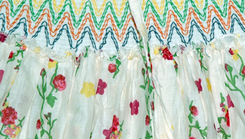 Colorful Maxi Dress Skirt with Smocking