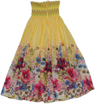 Colorful Yellow Maxi Dress Smock Skirt