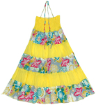 Hot Yellow Striped Maxi Dress Smock Skirt