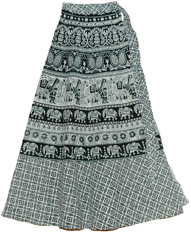 Black White Long Wrap Skirt | Clothing | Wrap-Around-Skirt
