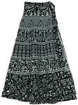 Animal Print Black White Long Wrap Skirt