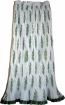 Green White Crinkle Long Skirt