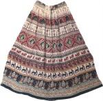 Indian Long Skirt with Animal Print