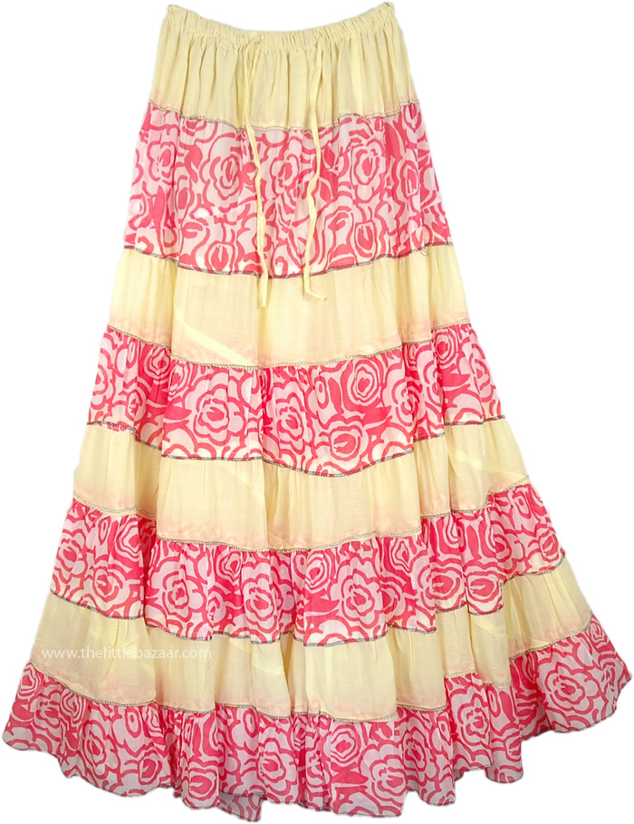 Broomstick Patchwork Summer Skirt in Yellow, Sandwisp Broomstick Tall Skirt Summer Frill