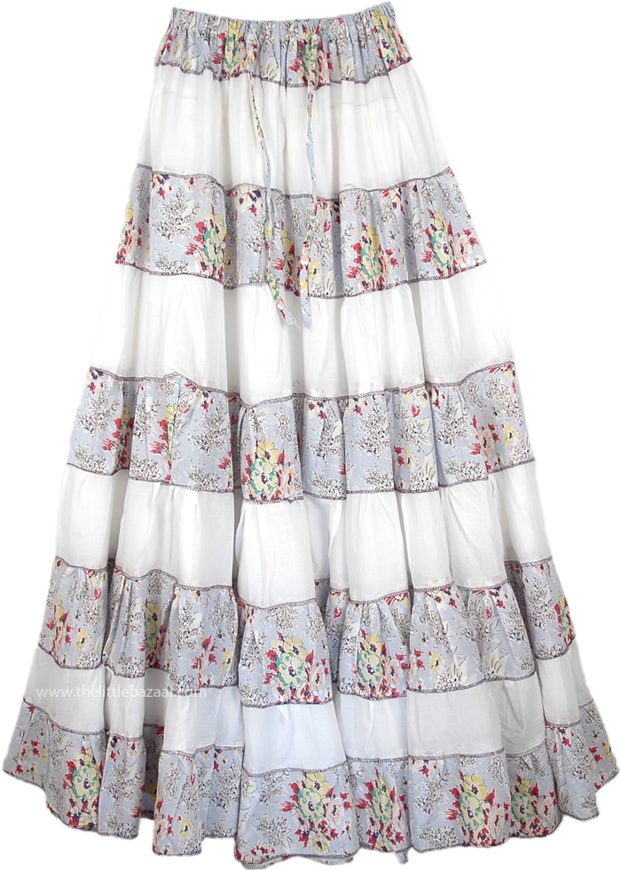 Floral Broomstick Patchwork Summer Skirt, Broomstick Cotton Tall Skirt Spring Charm