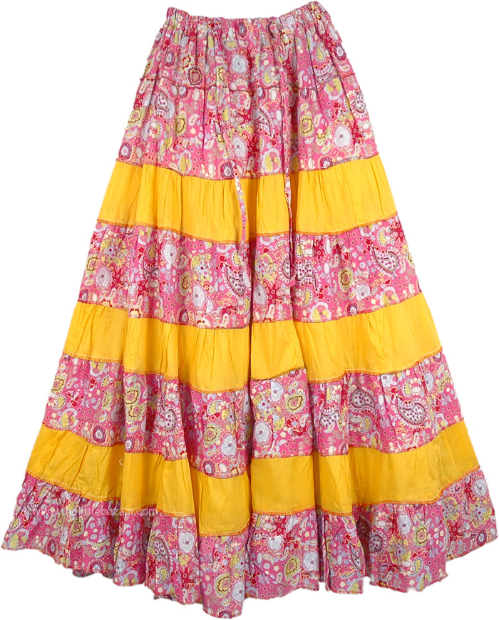 Broomstick Patchwork Summer Skirt in Yellow, Sandwisp Broomstick Skirt Summer Frill