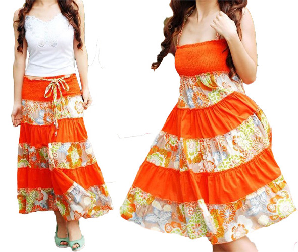 Orange Striped Summer Long Skirt Dress