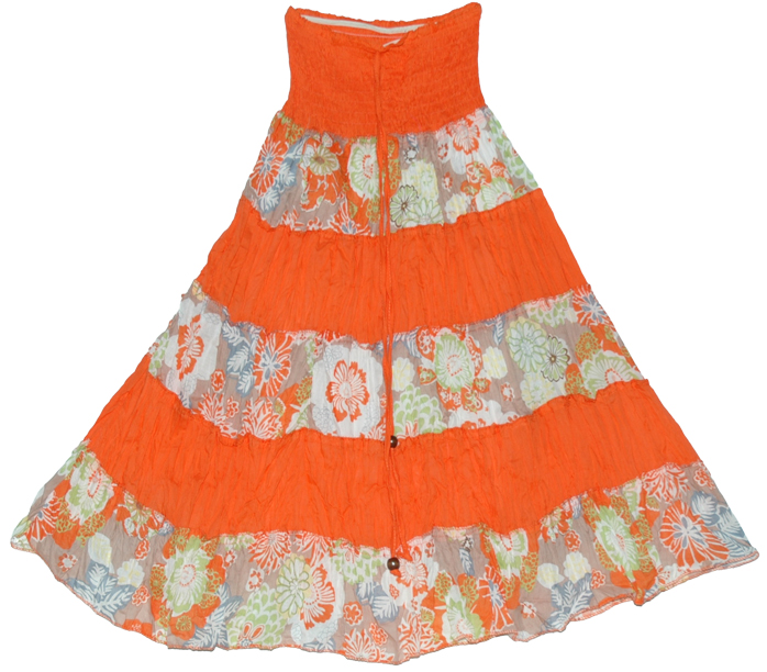 Striped Orange Floral long skirt, Orange Striped Summer Long Skirt Dress