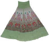 Battleship Grey Green Smock Boho Skirt