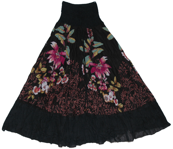 Black Floral long skirt dress, Black Camelot Show Girl Skirt Dress