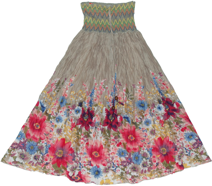 Waist Band Brown Floral long skirt, Napa Granite Smock Dress Skirt