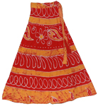 Long Wrap Skirt in Red Brandy