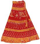 Long Wrap Skirt in Red Brandy