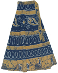 Wrap Skirt Style Blue Wood Long Wrap Skirt