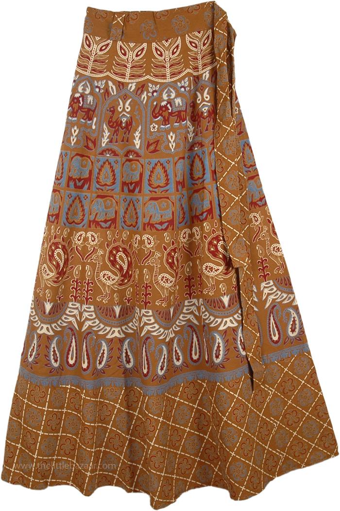 Attractive Cinder Boho Wrap Flowing Long Skirt, Rope Bohemian Wrap Around Long Skirt